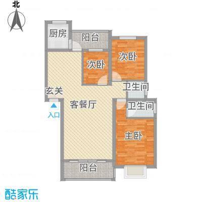 朝阳嘉苑105.39㎡B户型3室3厅2卫1厨