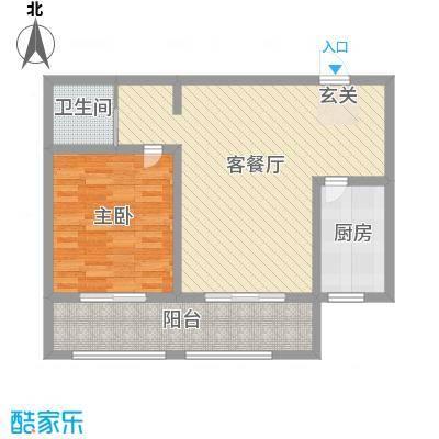 英伦名嘉77.00㎡1#、2#楼A户型1室1厅1卫1厨