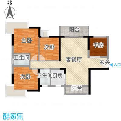 藏珑华府119.00㎡1/2/3栋01单元户型4室4厅2卫1厨