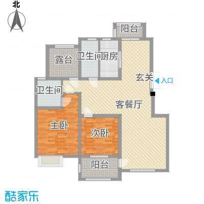 兰陵锦轩129.00㎡2#标准层C户型3室3厅2卫1厨