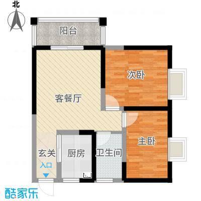 丽苑山水78.20㎡A座F户型2室2厅1卫1厨