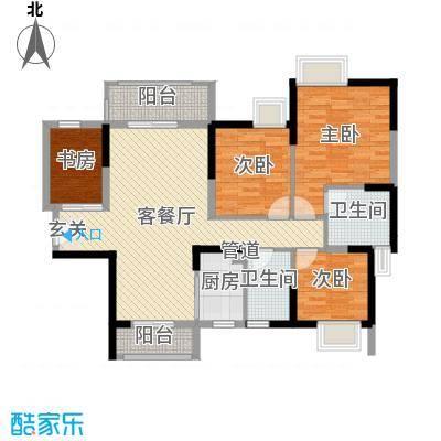 藏珑华府109.00㎡1/2/3栋02单元户型4室4厅2卫1厨