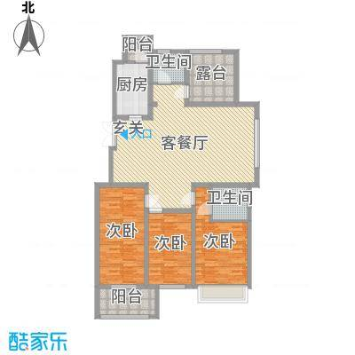 兰陵锦轩142.00㎡1#标准层B户型4室4厅2卫1厨