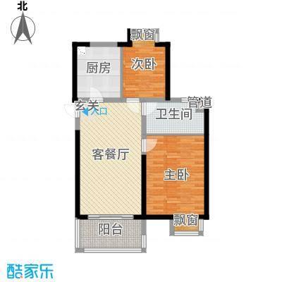 无锡万达文化旅游城88.00㎡超高层B4-2户型2室2厅1卫1厨
