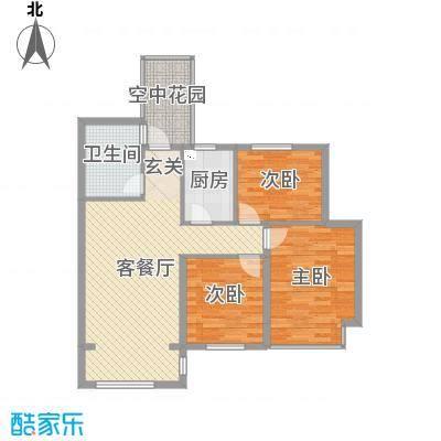 钱江绿洲96.90㎡A2户型3室3厅1卫