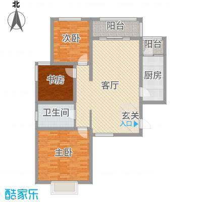 奥龙湾110.77㎡3#楼3单元B户型3室3厅1卫1厨