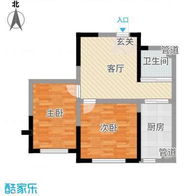 上东城市之光73.00㎡三期高层D户型2室2厅1卫1厨