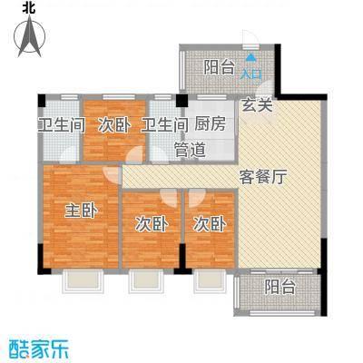 雅逸轩123.49㎡B栋0250X70户型4室4厅2卫1厨