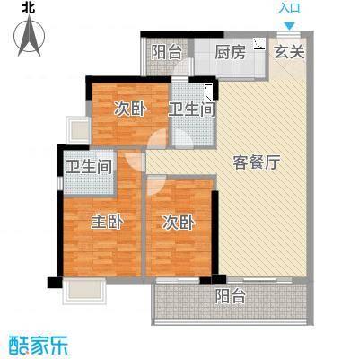 保利国际广场118.44㎡4期王座3栋02户型3室3厅2卫1厨