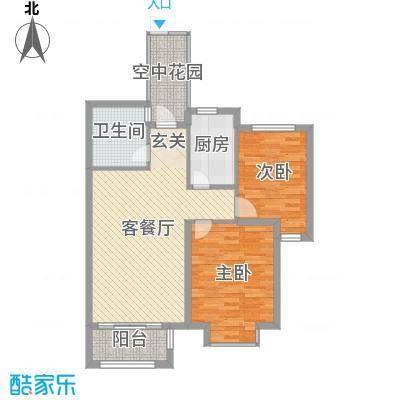 钱江绿洲84.50㎡B2户型2室2厅1卫