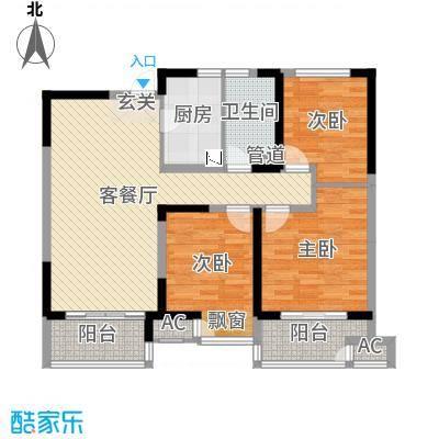 九龙仓时代上城106.00㎡C区年华里E2户型3室3厅1卫1厨