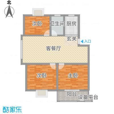 中科碧水豪庭105.00㎡1期2#楼边户D5户型3室3厅1卫