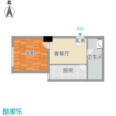 华谊星河56.47㎡商务楼E户型1室1厅1卫1厨
