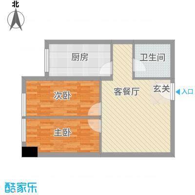 华谊星河61.64㎡商务楼H户型2室2厅1卫1厨