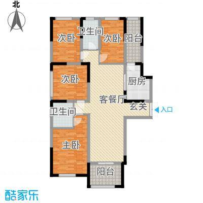 万景城136.00㎡8#-F户型4室4厅2卫1厨