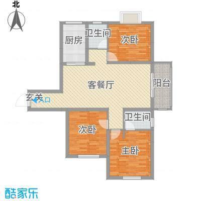 爵世名邸东湖128.00㎡D7户型3室3厅2卫1厨