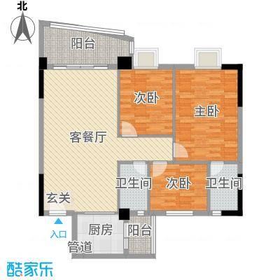 金泰瑞和园109.95㎡A栋一单元02/07、二单元01/06户型3室3厅2卫1厨