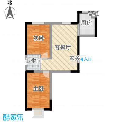 蓝色港湾73.00㎡三期庭第户型2室2厅1卫1厨