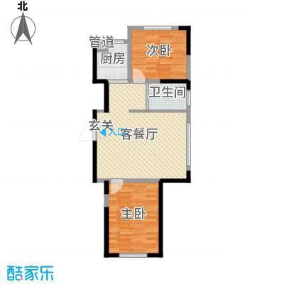 蓝色港湾85.00㎡三期庭里户型2室2厅1卫1厨
