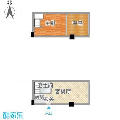 晟宝龙广场44.45㎡LOFT河景墅级公寓精装C户型1室1厅1卫1厨