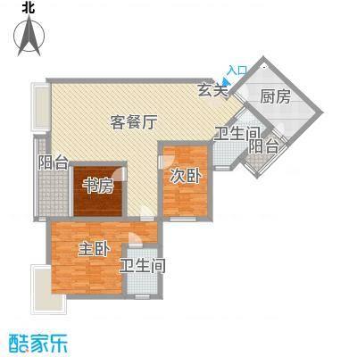 香格里拉桂花山城136.66㎡2户型3室3厅2卫