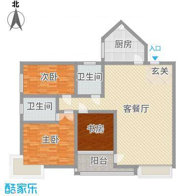 香格里拉桂花山城133.53㎡1户型3室3厅1卫