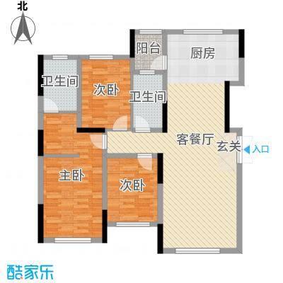 大禹南湖首府135.00㎡一期高层三居户型3室3厅2卫1厨