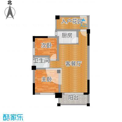 三景国际88.00㎡月华阁F户型2室1厅1卫1厨-副本-副本