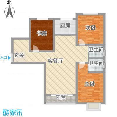 金桥天海湾132.34㎡21号楼标准层A5户型3室3厅2卫1厨