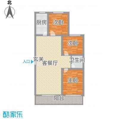 金桥天海湾117.06㎡10A号楼标准层户型3室3厅1卫1厨