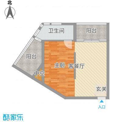 绿洲・凯德堡66.00㎡公寓D户型1室1厅1卫1厨