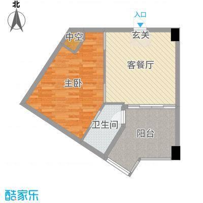 绿洲・凯德堡66.00㎡公寓E户型1室1厅1卫1厨