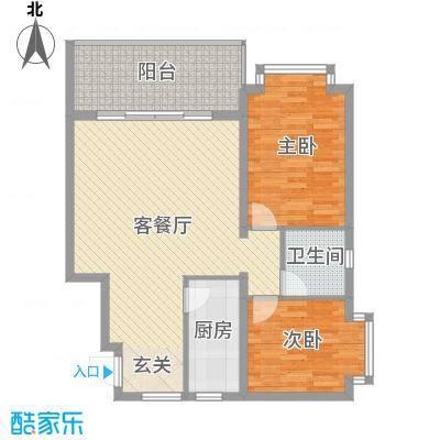 龙栖湾温泉花园96.00㎡两居户型2室2厅1卫1厨