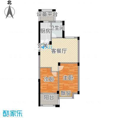 祥盛明湖湾75.00㎡3#楼E2户型2室2厅1卫1厨