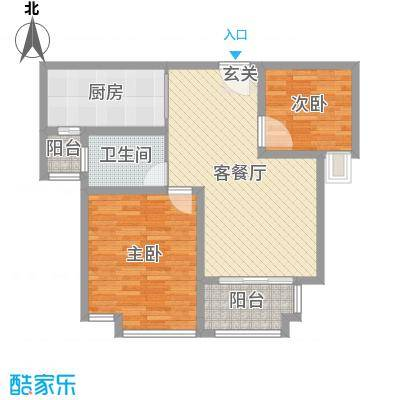 中茵龙湖国际83.57㎡高层标准层B2户型2室2厅1卫1厨