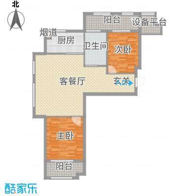 世嘉・正园107.13㎡26#楼两居户型2室2厅1卫1厨