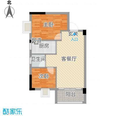 景新豪苑69.38㎡B1栋01户型2室2厅1卫1厨