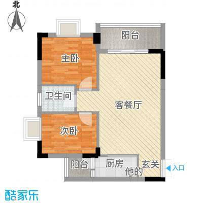 景新豪苑72.12㎡B2栋03户型2室2厅1卫1厨