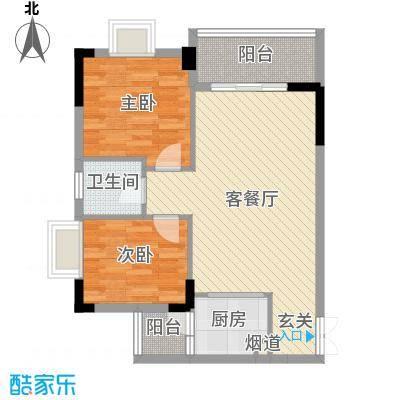景新豪苑70.41㎡B2栋02户型2室2厅1卫1厨