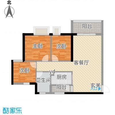 廉江锦绣华景89.00㎡28栋05户型3室3厅1卫1厨