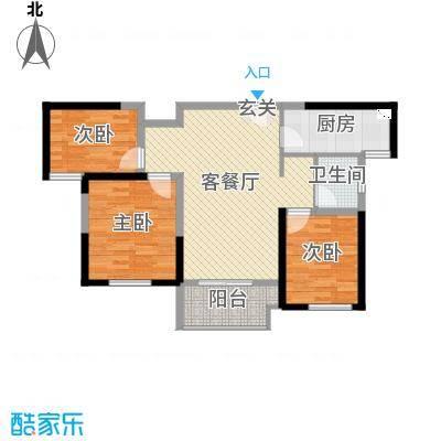保利鑫城89.00㎡四期H6户型3室3厅1卫1厨