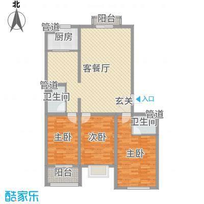 飞宇花园南区133.60㎡B1户型3室2厅2卫-副本