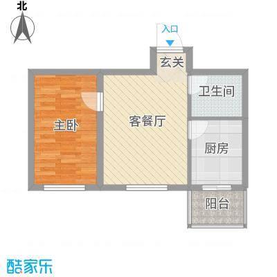 曙光新城53.00㎡C2-1户型1室1厅1卫1厨