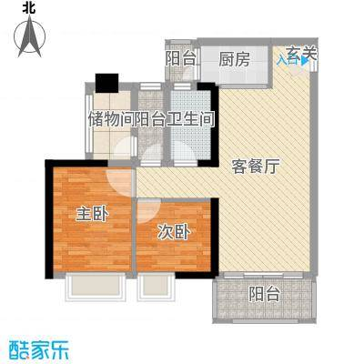 万荟时代84.50㎡1栋04单元户型2室2厅1卫1厨
