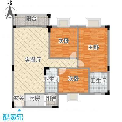 丽的花园113.07㎡1座b单元户型3室3厅2卫