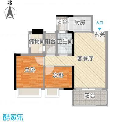 万荟时代78.36㎡2栋05单元户型2室2厅1卫1厨