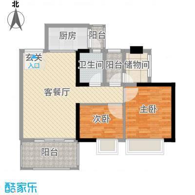 万荟时代80.56㎡1栋03单元户型2室2厅1卫1厨