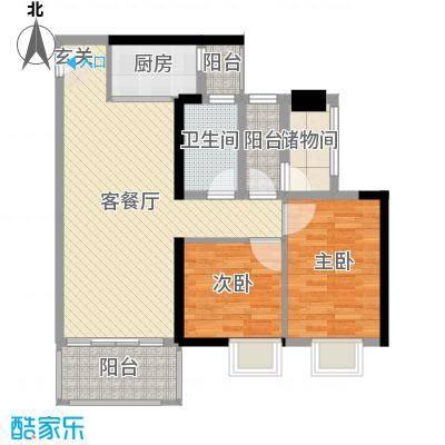万荟时代81.57㎡2栋04单元户型2室2厅1卫1厨