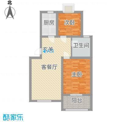 锦绣江南花园81.82㎡8#楼C户型2室2厅1卫1厨