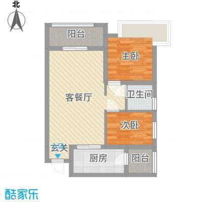 祈福海湾二期75.18㎡B户型2室2厅1卫1厨